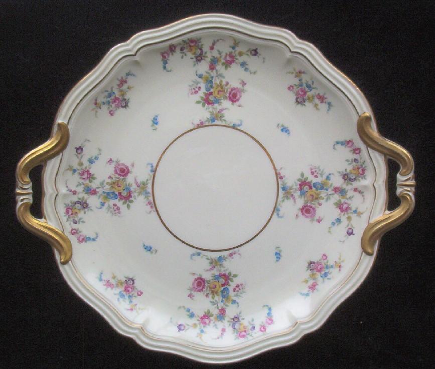 Rosenthal Ivory Cake Plate, Gilded Handles, Evangeline Pattern, Springtime Florals, 1920s-40s