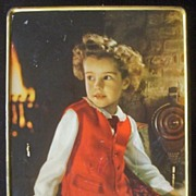 """Large Vintage Sharp and Sons Decorative Toffee Candy 10"""" Box, Engaging Child in Scottish"""