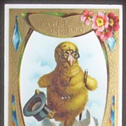 1909 Embossed Gilded Langsdorf Postcard, Fantasy Dressed Chick in Spectacles, Tophat and Cane,