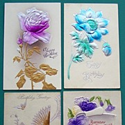Set of Four Beautifully Embossed Postcards, Airbrushed & Metallic Florals and Birds, 1909, 191