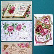 Set of Four Lovely Embossed Gilded and Silver-tone Postcards, Open Books with Pink & Red Flora