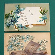 Trio of Embossed Gilded Postcards, Open Books with Forget-me-nots and Blue Florals, Early 1900