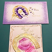 Pair of Deeply Embossed Airbrushed Postcards, Gilded Horseshoes, Violets, Silk Roses, 1910