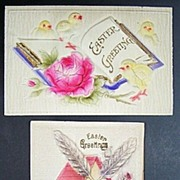 Pair of Deeply Embossed Easter Postcards, Windmill, Chicks, Open Book, Pink Roses