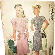 SALE Vintage 1946 McCall Day Dresses Printed Sewing Pattern-UNCUT