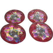 Vintage Reverse Painted Glass Buttons: Set of Four