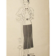 SALE Vintage Sewing Pattern: Original 1930s Marian Martin Ruffle Blouse and Skirt