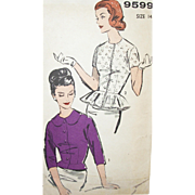 SALE Vintage Sewing Pattern: Peplum Blouses