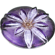 Vintage Glass Button, Reverse Painted Purple Windflower