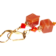 Artisan Red Agate Cubes  and Swarovski Crystals Earrings