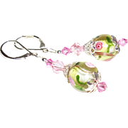 Artisan Watercolor Garden Silver-core Lampwork Earrings