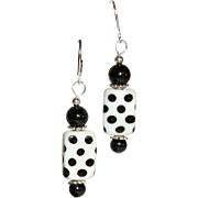 Artisan Polka-Dot Whimsical Lamp-work and Black Onyx Earrings