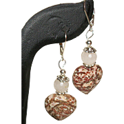 Artisan Jasper Hearts with Faceted Rose Quartz Earrings