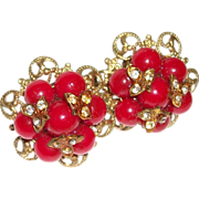 Vintage Bright Red Baubles Cluster Earrings
