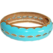 Vintage Turquoise-Blue Hinged Bangle Bracelet with Cut-Outs