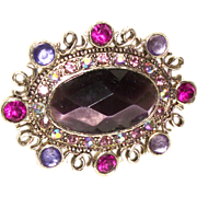 MONET Plum Perfection Faceted Glass Pin/Brooch