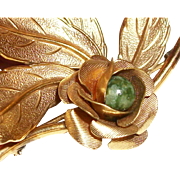 Vintage Jade and Gold-Filled Layered Pin/Brooch