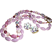 SOLD Vintage 2-Strand Ceramic, Glass, and Acrylic Necklace Set