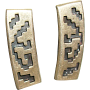 SALE Vintage 1960's Sterling Silver Aztec Design Column Earrings