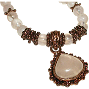 SALE Vintage Rose Quartz Pendant Necklace