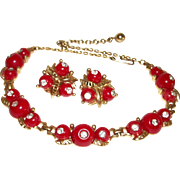 Vintage Red-Hot Rhinestones & Lucite Necklace and Earrings Set