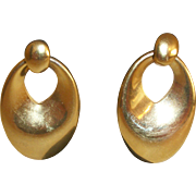 Vintage 1960's Golden Hoops Post Earrings