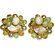 Vintage Mother-of-Pearl Slice and Glass Beads Earrings-FREE Ship