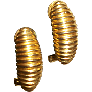 Vintage Gold-plate Corrugated Clip Earrings