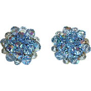Vintage Blue Crystal Clusters Clip Earrings
