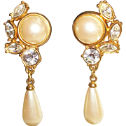 Vintage Faux Pearl and Crystal Dangle Post Earrings