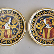 A Pair of Antique Mettlach Wall Plaques, Renaissance Women,Latec 19th Century