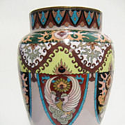 Antique Japanese Cloisonne Vase, Phoenix&Shield Decor, CA.1890