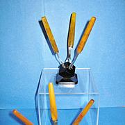 Art Deco Vintage Bakelite Cocktail Fork Sets