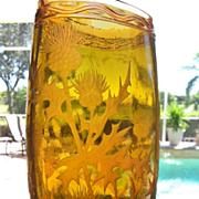 SALE French Art Glass Vase, Wheel Cut Thistles Decor, CA.1930's