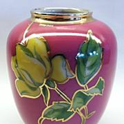 "An unusual Vintage German Porcelain Vase with Silver Overlay, ""KPM"", CA.1920's"