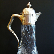 Antique Claret Jug, Silver Mounts, Cut Glass Base, German CA.1890