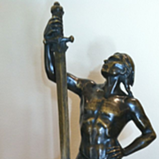 SALE Antique Bronze Statue of a Proud & Fit Warrior with Sword, CA.1910