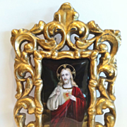 "SALE Limoges Enamel Plaque of ""Jesus Christ"", ""Sacre Coeur"", Gilt Wood Fra"