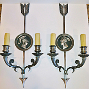 """Vintage Pair of """"Directoire Style"""" Bronze French Sconces by """"Maison Charles - Paris"""""""