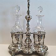 A Fine Antique French Sterling Silver Cruet Stand, CA.1830