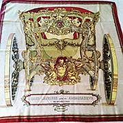 "Rare Original Hermes Silk Scarf, ""Grand Carrosse Pour Un Ambassadour Anno MDCC"", Vin"