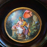 Miniature French Painting, A Romantic Garden Scene, CA.1880