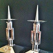 "A Rare Pair of French Silvered Bronze Altar Candlesticks, ""Neo Gothic"" Moderne Design,Paris CA.1940's"