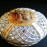 """Antique Hand Painted Porcelain Reticulated """"Potpouri"""" Container, France, """"Sevres"""" Mark, CA.1890"""