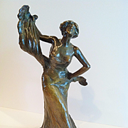 """SOLD Bronze Sculpture of """"Loie Fuller"""" Erotic Dancer, French CA.1920's"""