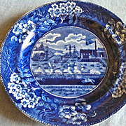 "Antique Historical Blue Staffordshire Plate, Clewes, ""Landing of Lafayettte"