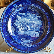 """Antique Historical Blue Staffordshire Plate, Wood & Sons, """"Commodore McDonnoughs Victory"""