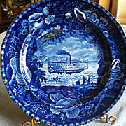 """Antique Historical Blue Staffordshire Plate, Wood & Sons, """"Unionline"""""""