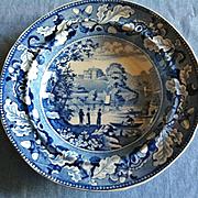Antique Historical Blue Staffordshire Soup Plate, Lambton Hall Durham