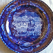"""Antique Historical Blue Staffordshire Plate, Wood & Sons, """"View of Liverpool"""""""
